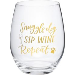 Wine Glass - Snuggle Dog Sip Wine Repeat